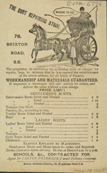 Advert for the Boot Repairing Store